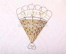 High quality wicker pastoral wall vases for hang flower vine jarrones home decoration free shipping(China (Mainland))