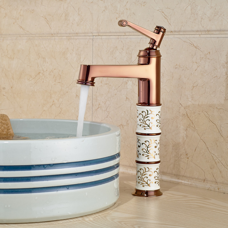 Фотография Luxury Rose Golden Countertop Bathroom Lavatory Sink Faucet Single Lever Deck Mount Mixer Taps