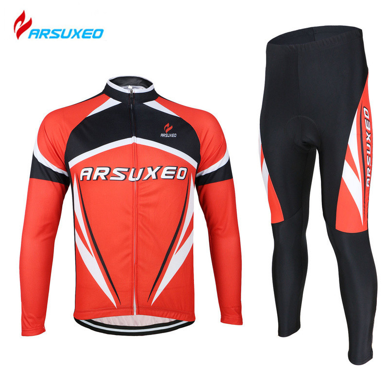 ARSUXEO Men's Cycling Road Bike Bicycle Quick Dry Breathable Long Sleeve Sports Jersey + Tigths Pants Set 3D Gel Paded Clothing