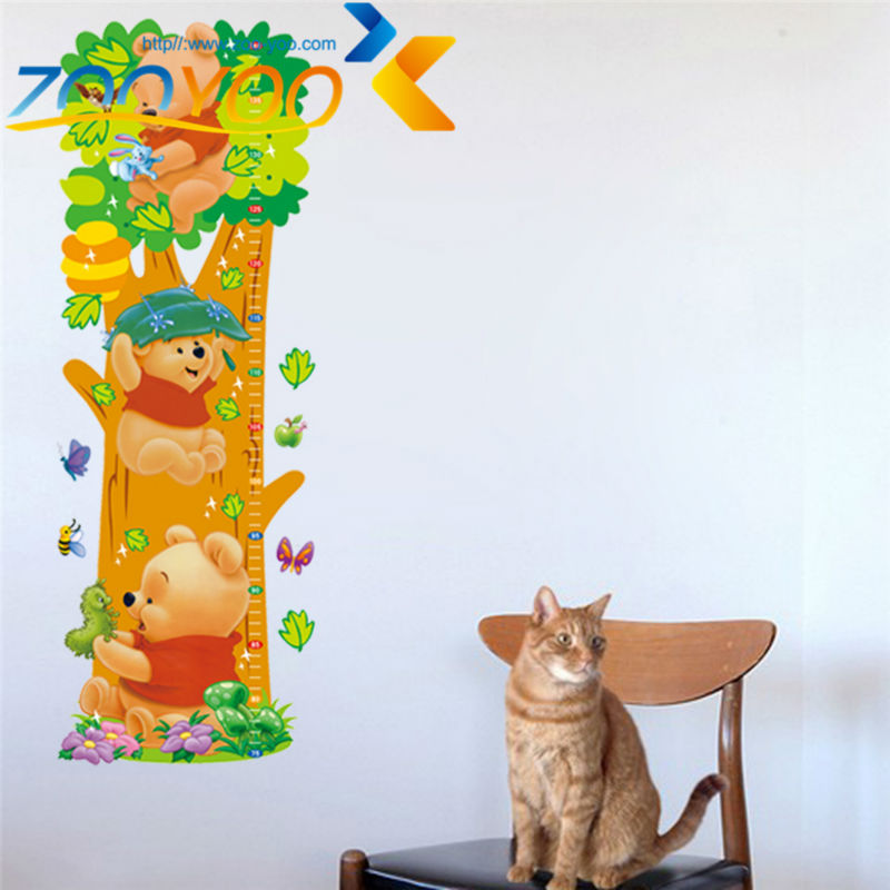 Winnle the Pooh playing on tree wall stickers for kids rooms zooyoo2005 diy adesivo de parede removable pvc wall decal(China (Mainland))