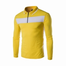 2016 new fashion male long sleeve casual slim polo shirts / men's summer contrast color rendering polo shirt