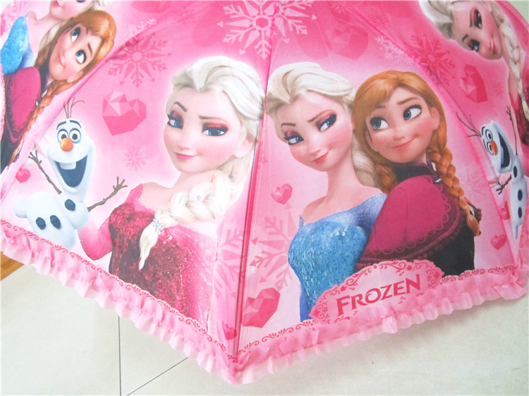 Disny Frozn Princess Elsa Anna Olaf Semi-auto Folding Sunny Rainy Umbrella For Kids Birthday Christmas Favor Gifts(China (Mainland))