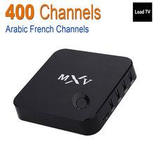 MXV Android TV Box Amlogic S805 Quad Core Caja de la TV Soporte 400 + Leadtv Deportes Canal + de África Francés Árabe Iptv Set Top Box Envío de Prueba