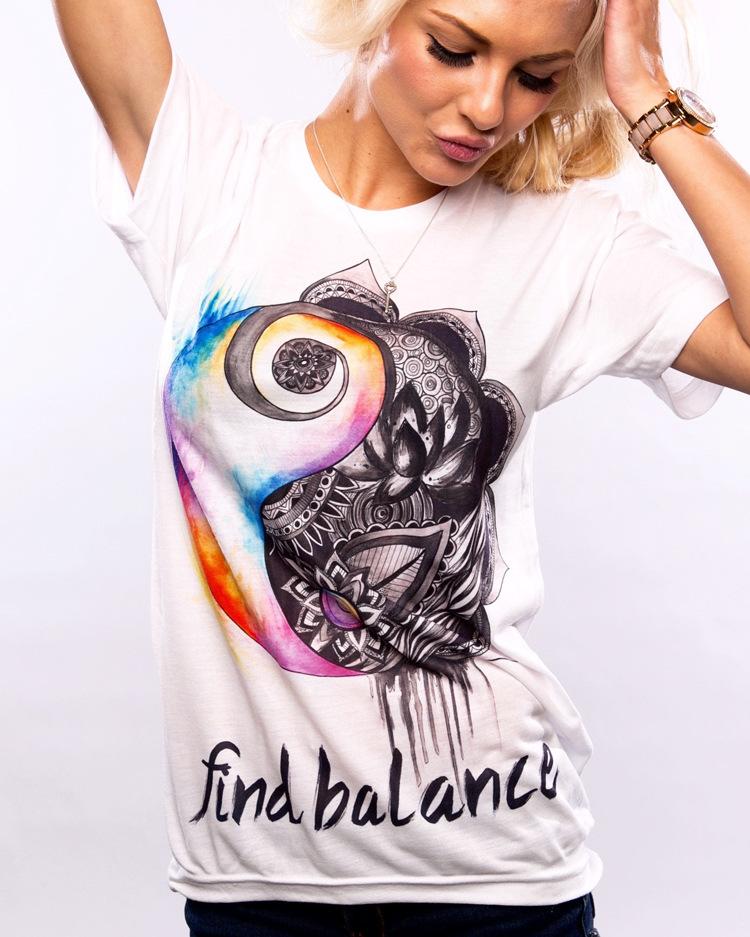 Summer Fashion Women T-Shirt 2016 Tai Chi Flower T shirt Find Blance Letter Print T-shirt Casual Graffiti Tee Shirt Femme(China (Mainland))