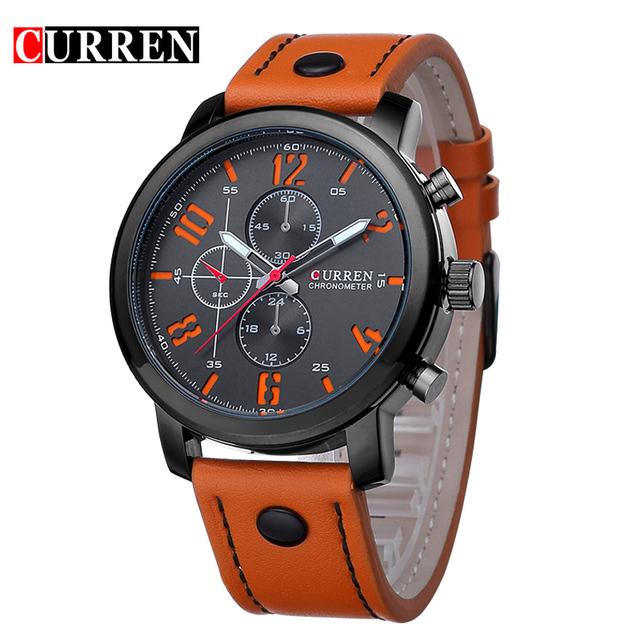 Мода марка кварцевые часы мужчины свободного покроя кожаный ремешок бизнес наручные часы военно-спортивный Relogio мужской montre homme Curren 8192 новый