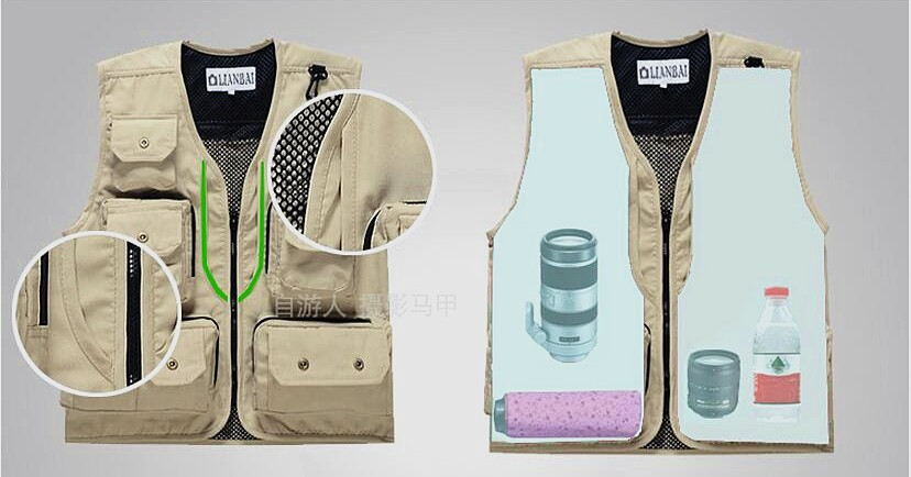 Summer Autumn Men Multifunctional Quick-Drying Mesh Fishing Vest Jacket Loose Multi-Pocket Outdoor Photography Angler Waistcoat