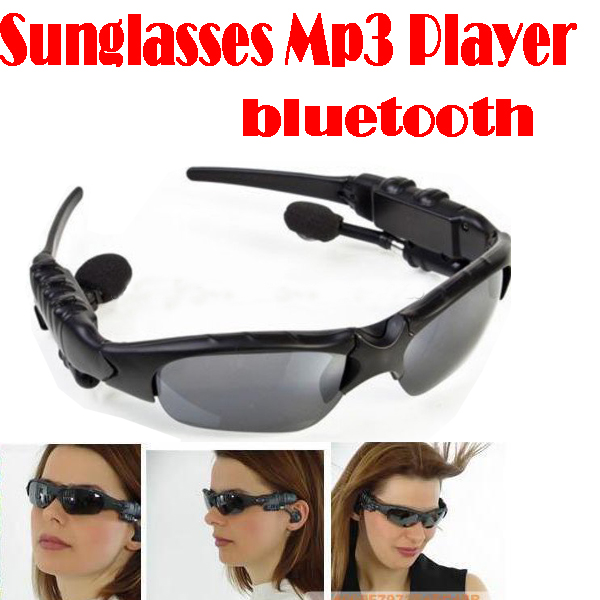 by dhl or ems 100 pieces Sunglasses Mp3 Player with Bluetooth phone talk- Sunglass sports headphones sun glass 4GB Headset(China (Mainland))