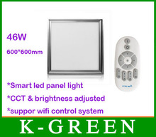 best quality 2.4G smart LED panel light 46W with remote support wifi control system cct & brightess adjusted free shipping(China (Mainland))