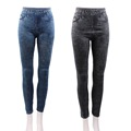 Women Stretch Denim Jean Look Skinny Leggings Slim Jeggings Pants Academies American Apparel Faux Denim Pencil