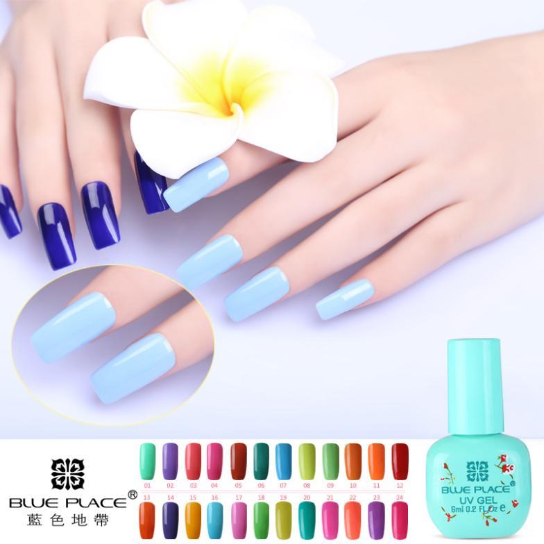 Blue Place uv gel polish nail art soak off 120 colors 6ml cosmetics manufacturer long lasting cheap(China (Mainland))