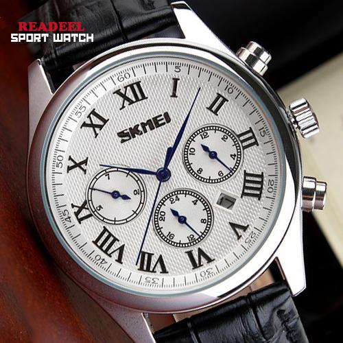 Luxury Brand Watches For Men Stainless Steel Band Leather Strap Men Dress Watch Black Blue Quartz Wristwatch Reloj Montre 2015