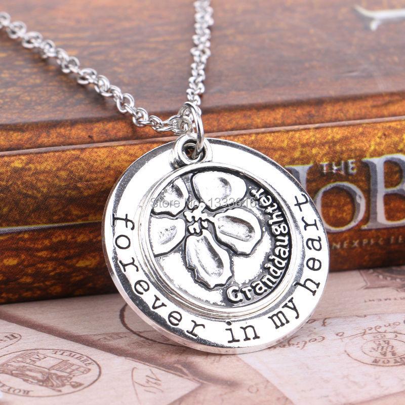 Vintage Family Necklace Round Flower Granddaughter Medal ...
