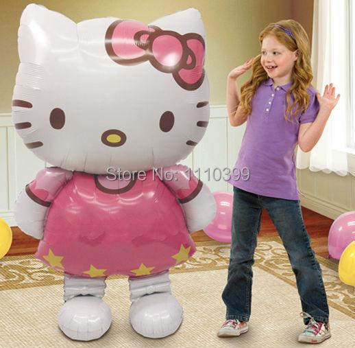 116 * 65 см большой размер привет котенок кошка фольгированные шары мультфильм украшения для дня рождения свадьба ну вечеринку надувные воздушные шары классические игрушки