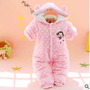 Baby coral velvet jumpsuit straight placket baby coveralls Romper climbing clothes fall and winter(China (Mainland))