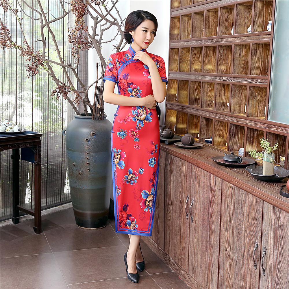 Short Sleeve Chinese Style Satin Long Cheongsam Women's Traditional Print Flowers Qipao Summer Sexy Dress S M L XL XXL XXXL