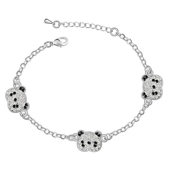 Min.order is $15 (Mix order) Wholesale Fine Personality Crystal Jewelry Women Elegant Red Panda Silver Anklet