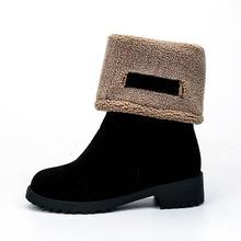 Mulheres Botas Femininas Sapatos de Inverno Mulher Pele Quente Botas de Neve Moda botas mujer Praça Botas De Salto Alto Preto Verde Mid -bezerro(China)