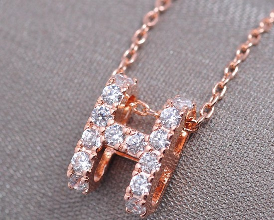 H Letter In Love micro-CZ letter H necklace
