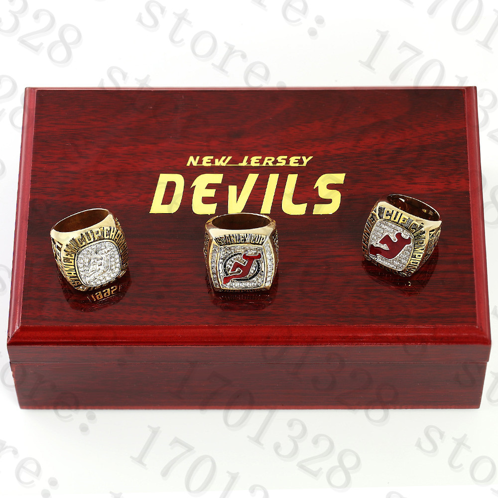 SET! ! NHL New Jersey Devils 3pc Fans Championship rings!hot!FREE SHIPPING!Many sizes(China (Mainland))