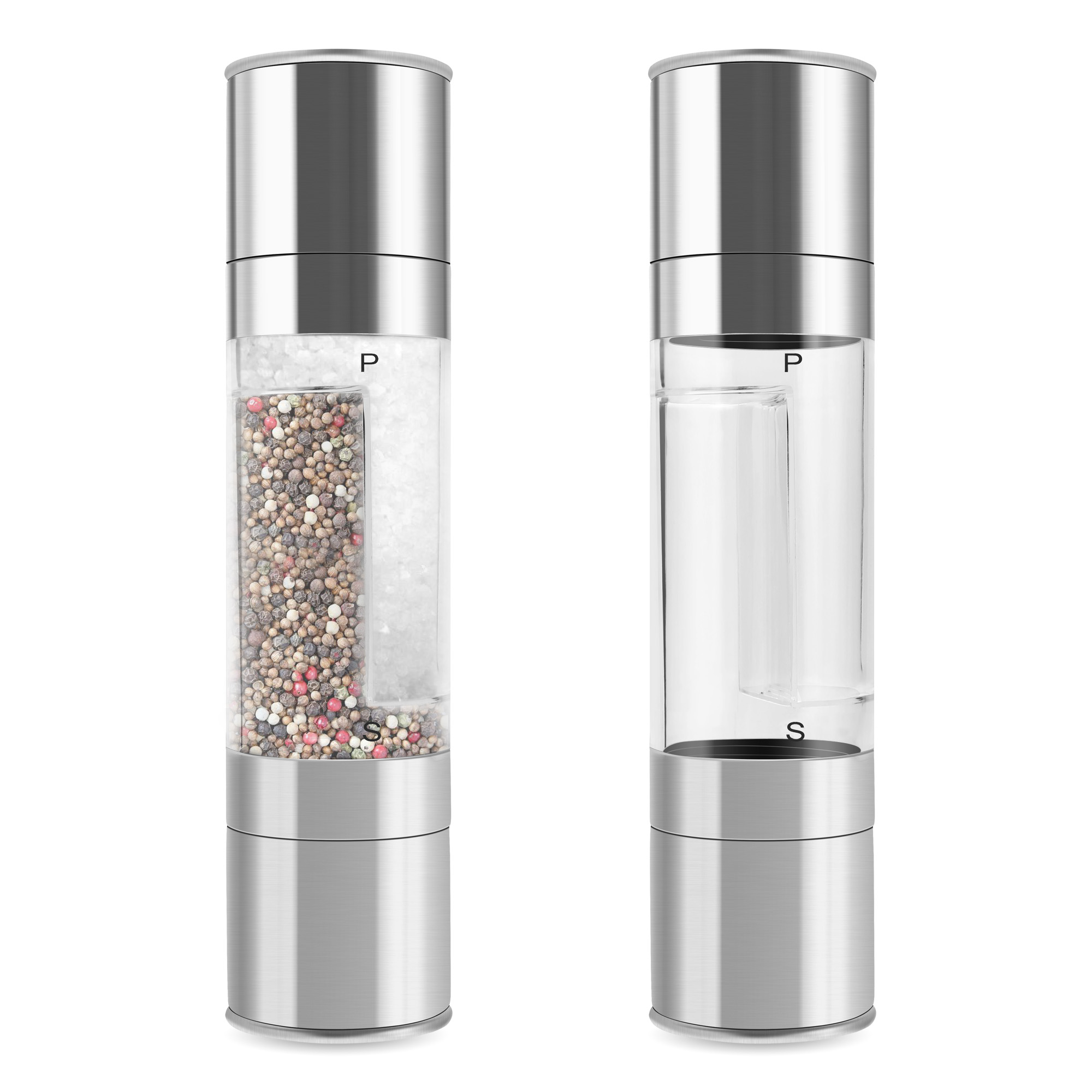 Cooking Tools 2 IN 1 Spice Salt & Pepper Mill Premium Salt Shaker Spice Herb Pepper Grinder Mill Wholesales(China (Mainland))