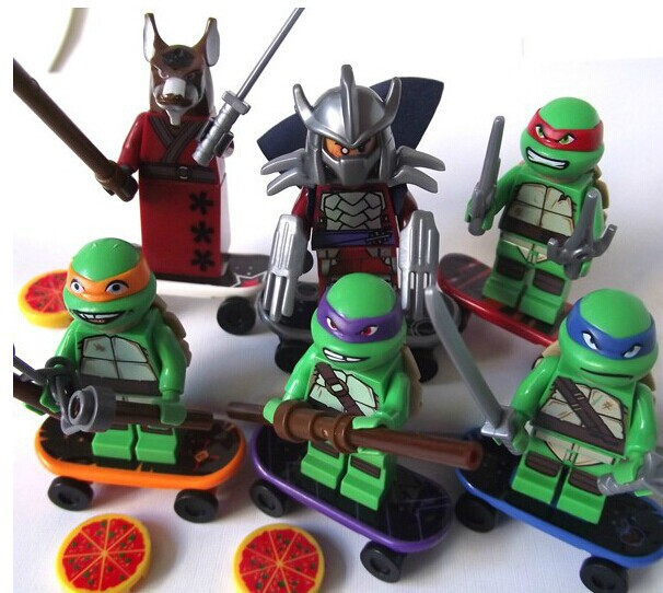 TMNT 6 Pcs Set Teenage Mutant Ninja Turtles Action Mini Figures Building Block Toy New Kids Toys Gifts compatible with lego(China (Mainland))
