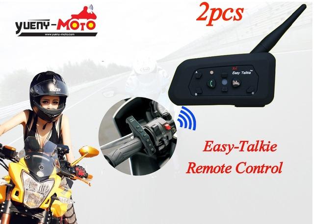 2016 version 2PC free shipping remote control bluetooth motorcycle helmet intercom wirless BT interphone headset smart phone