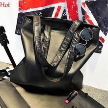 Fashion Soft Leather Handbags Stylish European Lady Bags Women Large Bag Solid Black Handbags Shoulder Messenger Bags SV014766