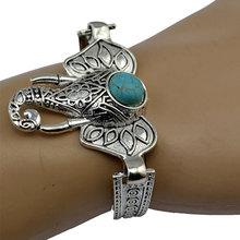 2016 Women Bohemian Retro Vintage Tibet Silver Bracelet Owl Fatima Elephant Moon Turquoise Charm Bracelets Bangles Boho Jewelry(China (Mainland))