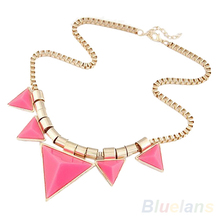 Womens Unique Jewelry Gold Metal Triangle Gems Necklace Pendants Chain 0336