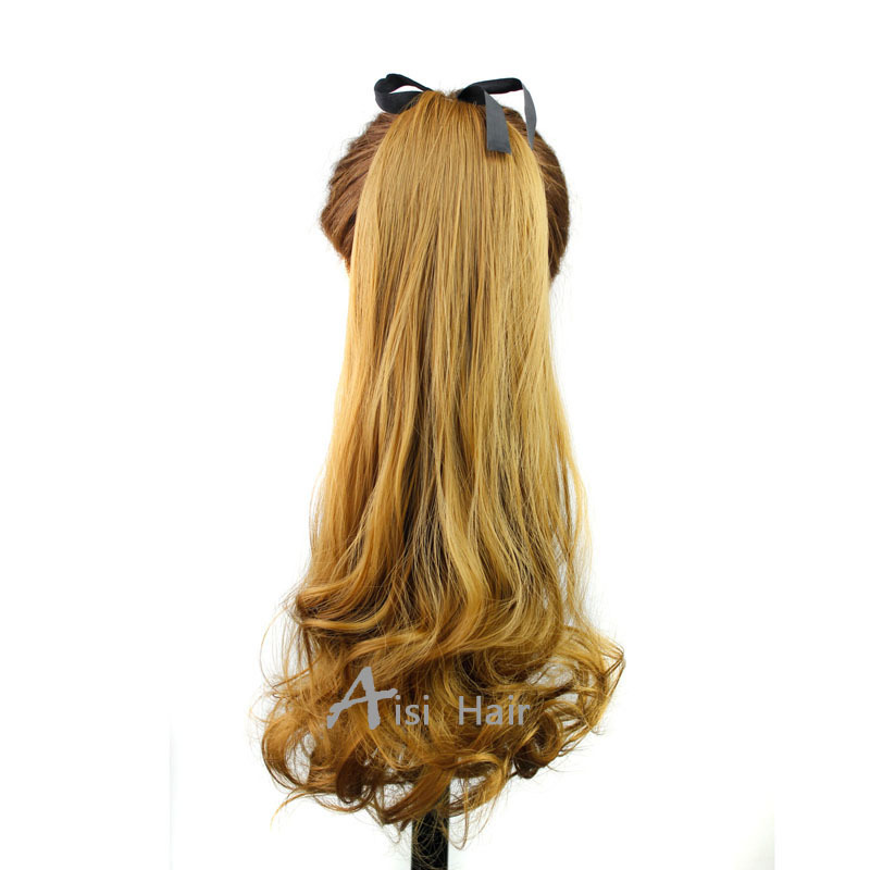 Women's Synthetic Hair long wave drawstring style long wavy gold ponytail and new brand cheap and fashion Ponytails