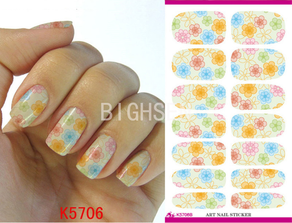 Full Cover Nail Decal Sticker Nail Art Water Decals French Ru Nail Sticker Water Nails Arts Flowers Stickers For Women BK5706B(China (Mainland))
