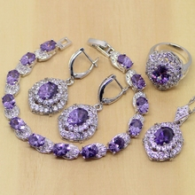 Classic Purple Amethyst White Crystal 925 Sterling Silver Jewelry Sets For Women Earrings/Pendant/Necklace/Rings/Bracelet T205(China (Mainland))