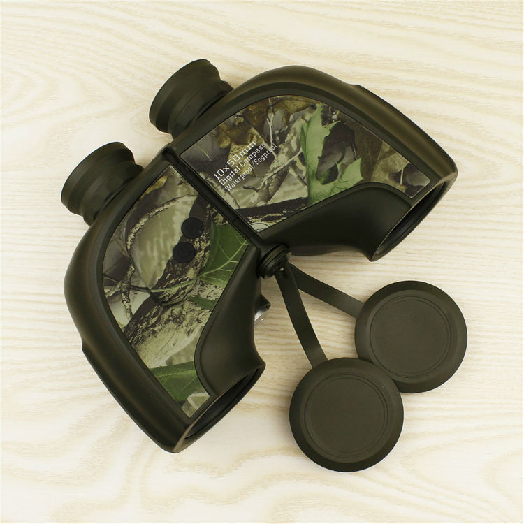 Professional Waterproof High Power Binoculars 10X50 Fogproof Camouflage Optics Binocular with Compass and Coordinate for Hunting(China (Mainland))