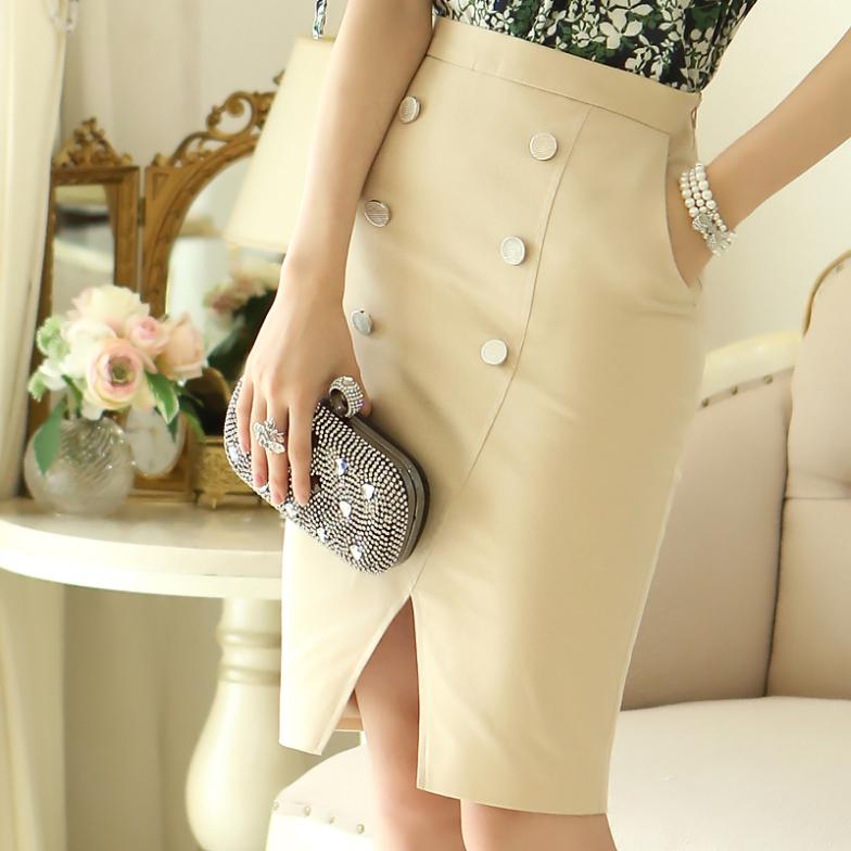 knee length womens office work high waist double-breasted cut casual pencil skirts new 2014 women - ShowyDress store