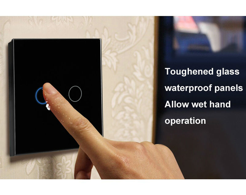 SESOO EU/UK Universal Wall Light Switch 110-220V Crystal Glass Panel Switch 2 Gang 1 Way Waterproof Touch Control