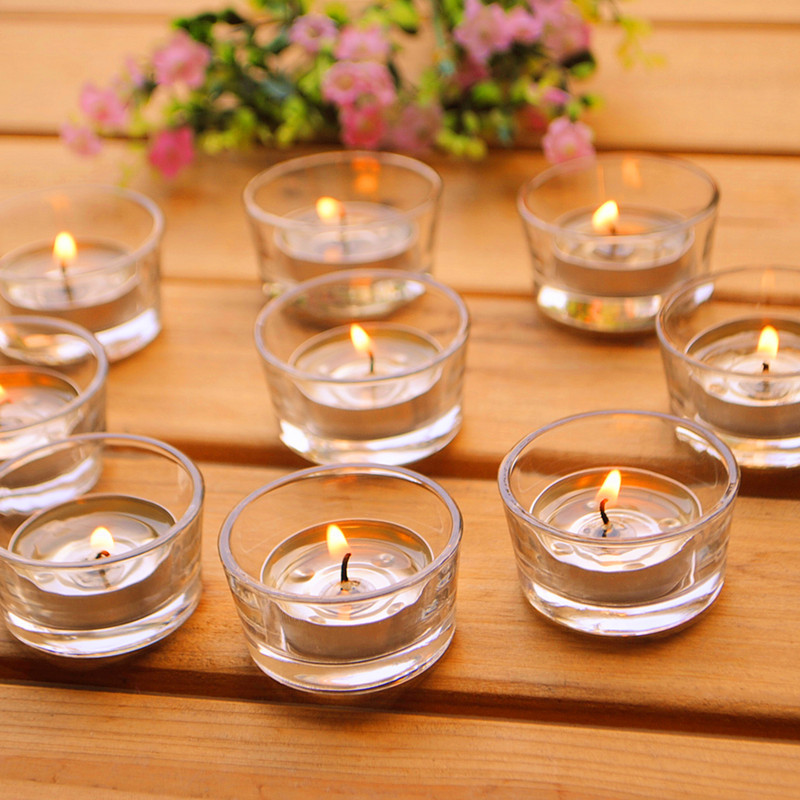 Small glass candle holders clear votives tea lights