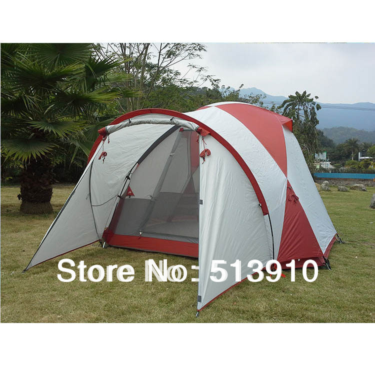 Multiplayer octagonal dome tent!5 Persons double layer 1hall 1room anti-storm & anti-wind large family outdoor camping tent(China (Mainland))