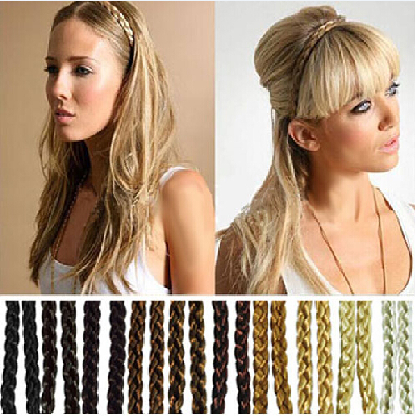 2x Wholesale Fashion Synthetic Hair Plaited Elastic Headband Braided Hair Bands Hair accessories(China (Mainland))