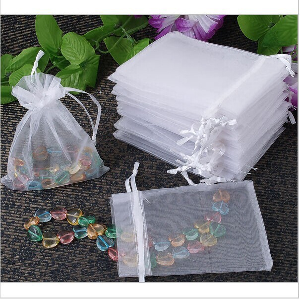 100pcs Wholesale White Drawable Organza Bags 5x7 cm Wedding Gift Bags ...