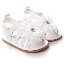 Summer Baby Shoes Flower Girl PU Leather Sweet Newborn Baby Outdoor Beach Shoes Infant Princess Girls Soft Soled Anti-slip Shoes