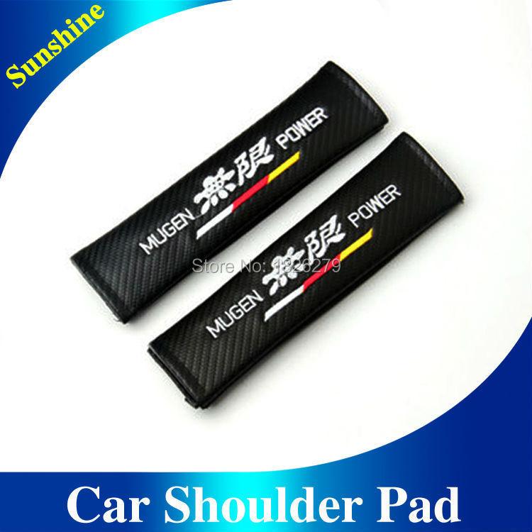 2X Car Seat Belt Cover Shoulder Pads Automotive Accessories Mugen Power Carbon Fiber Seat Belt Shoulder For Honda Vezel Fit(China (Mainland))