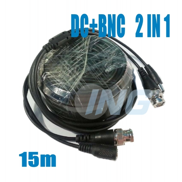 Free Shipping! 15M DC BNC 2in1 Video Power Adapter CCTV Camera Cable Security System Accessories(China (Mainland))