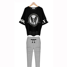 Fashion Women Tops 2015 Batwing Sleeve Shirt (Trousers + T Shirt) Two Pieces T Shirt Sets Animal Print Tee Shirts Plus Size