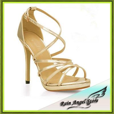 Women High Heel Shoes Sexy Gold 2015 European And America Cross Strap Party Shoes Big Size 43 Roman Sandals(China (Mainland))