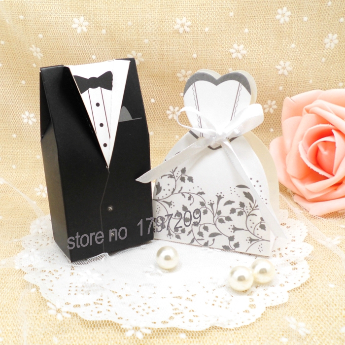Wedding Favor Boxes For Sale : Hot Sale 100pcs Bride and Groom Wedding Favor Boxes Gift box Candy box ...