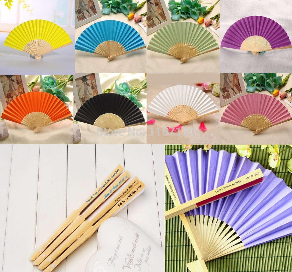 200pcs custom personalized Name and date Elegant Folding Paper Hand Fan wholesale Wedding&Party Decoration Favors 21cm(China (Mainland))