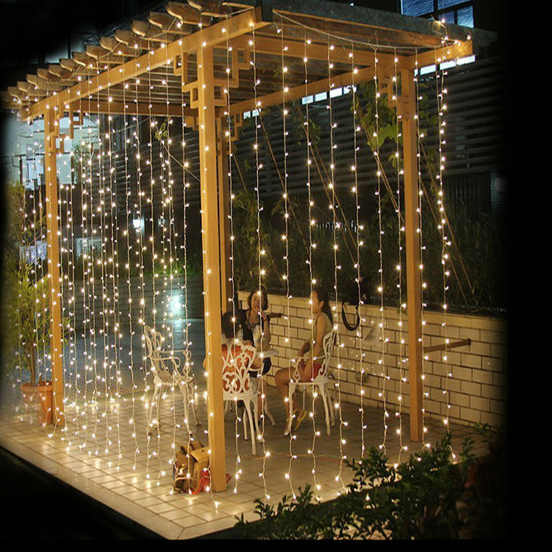Outdoor String Lights White: 3M X 3M 300 LED Outdoor Curtain Garlands Home Warm White