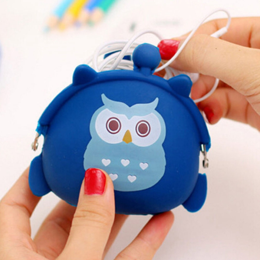 Children Girl'S Gift Kawaii Candy Color Owl Wallet Silicone Small Cute Key Change Headphones Storage Bag Mini Rubber Coin Purse(China (Mainland))