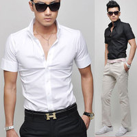 New Stylish Men's Summer Fashion Brand Solid Color Short-sleeve Dress Shirt Slim Shirts for Men 17 Colors MS069 Asia S-XXXL C504