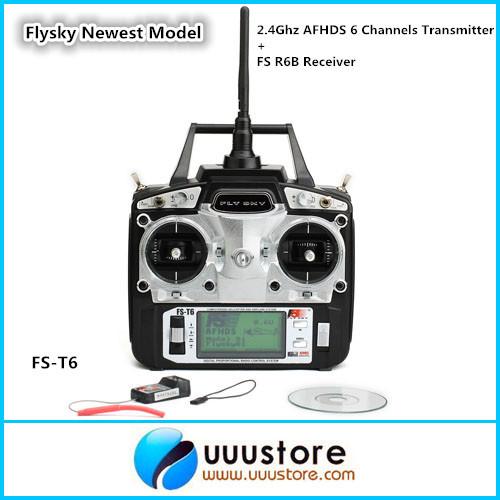 Фотография Flysky Newest Model FS-T6 2.4Ghz AFHDS 6 Channels  w/ LCD Screen Transmitter + FS R6B Receiver Radio System For Heli Plane